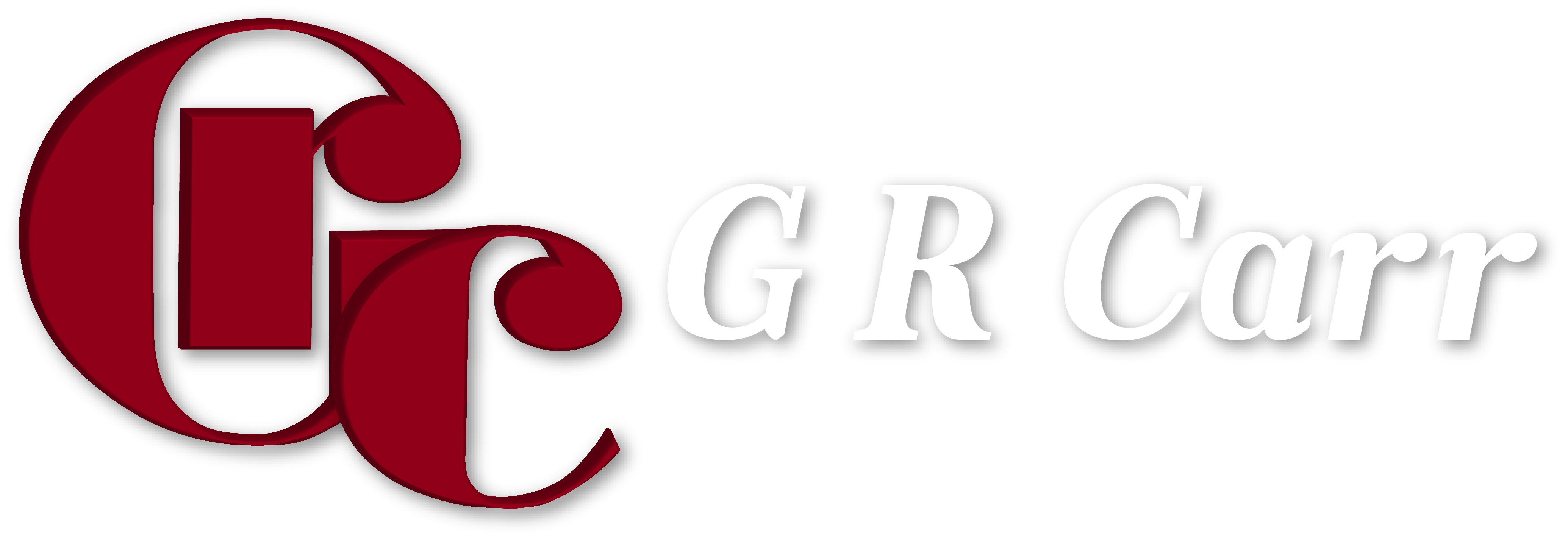 GR Carr 3d logo WHITE